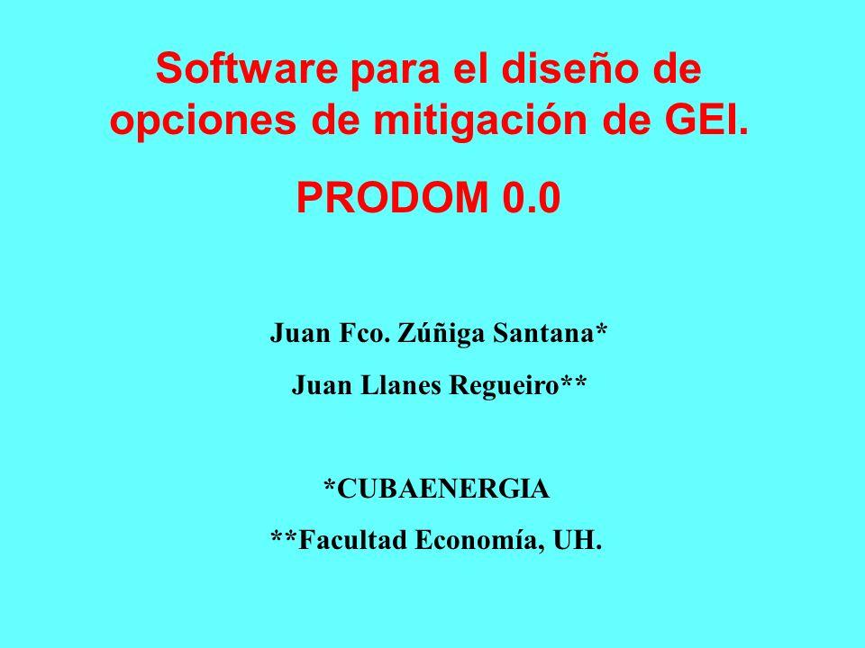 Juan Fco. Zúñiga Santana* Juan Llanes Regueiro** *CUBAENERGIA **Facultad Economía, UH. Software para el diseño de opciones de mitigación de GEI. PRODO