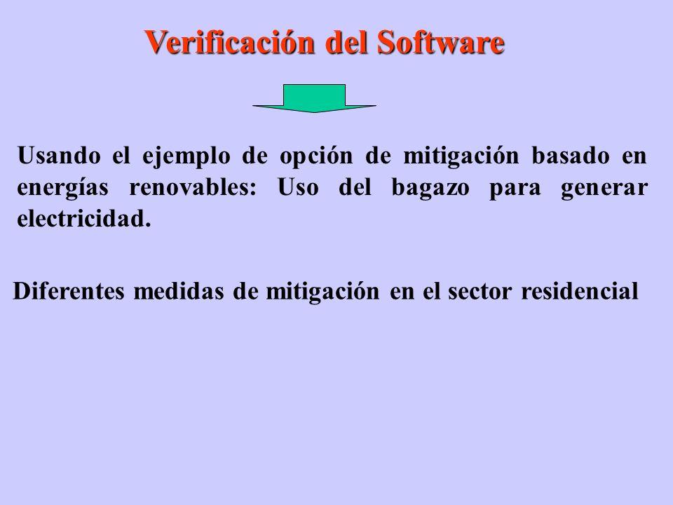 Verificación del Software Verificación del Software Usando el ejemplo de opción de mitigación basado en energías renovables: Uso del bagazo para generar electricidad.