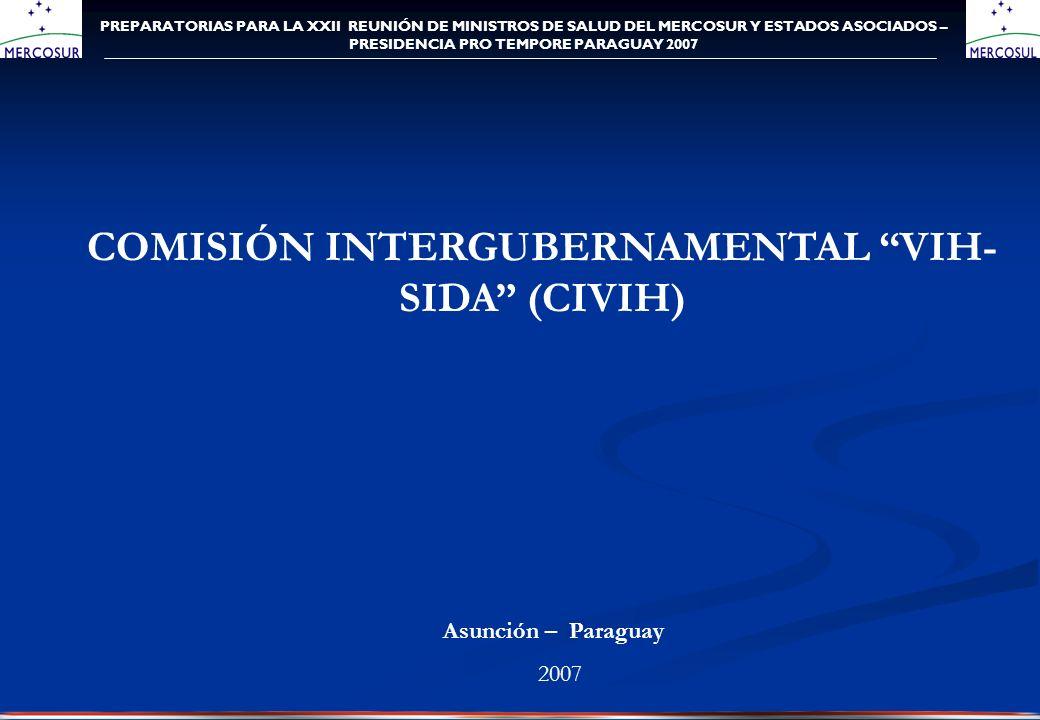PREPARATORIAS PARA LA XXII REUNIÓN DE MINISTROS DE SALUD DEL MERCOSUR Y ESTADOS ASOCIADOS – PRESIDENCIA PRO TEMPORE PARAGUAY 2007 COMISIÓN INTERGUBERNAMENTAL VIH- SIDA (CIVIH) Asunción – Paraguay 2007