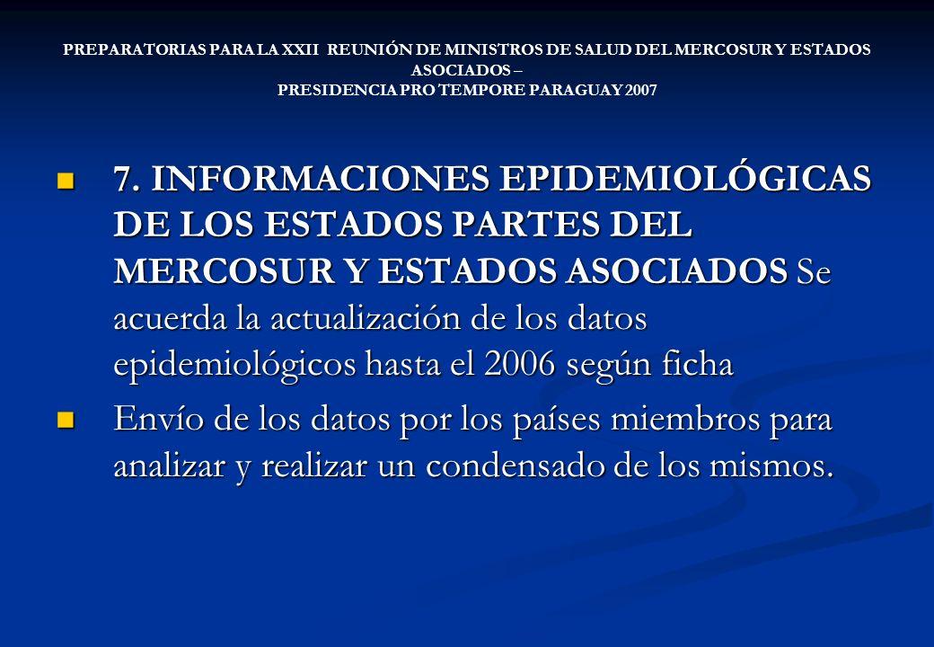 PREPARATORIAS PARA LA XXII REUNIÓN DE MINISTROS DE SALUD DEL MERCOSUR Y ESTADOS ASOCIADOS – PRESIDENCIA PRO TEMPORE PARAGUAY 2007 7. INFORMACIONES EPI