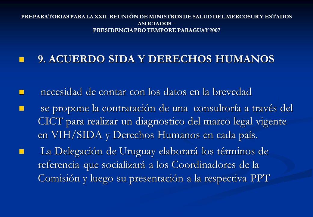PREPARATORIAS PARA LA XXII REUNIÓN DE MINISTROS DE SALUD DEL MERCOSUR Y ESTADOS ASOCIADOS – PRESIDENCIA PRO TEMPORE PARAGUAY 2007 9. ACUERDO SIDA Y DE