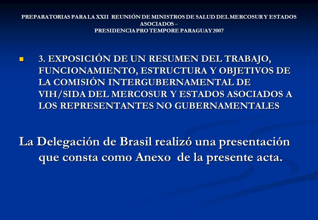 PREPARATORIAS PARA LA XXII REUNIÓN DE MINISTROS DE SALUD DEL MERCOSUR Y ESTADOS ASOCIADOS – PRESIDENCIA PRO TEMPORE PARAGUAY 2007 4.DISCUSIÓN SOBRE LA RELACIÓN ENTRE LA CI-VIH/SIDA Y OTRAS COMISIONES 4.DISCUSIÓN SOBRE LA RELACIÓN ENTRE LA CI-VIH/SIDA Y OTRAS COMISIONES La Comisión coincidió en la importancia de la participación de representantes de la CISSR así como también de la CIPM para la discusión de temas específicos de la agenda y reciprocidad en la participación.