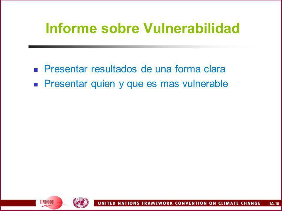 1A.10 Informe sobre Vulnerabilidad Presentar resultados de una forma clara Presentar quien y que es mas vulnerable