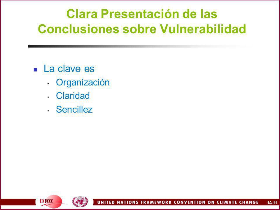 1A.11 Clara Presentación de las Conclusiones sobre Vulnerabilidad La clave es Organización Claridad Sencillez