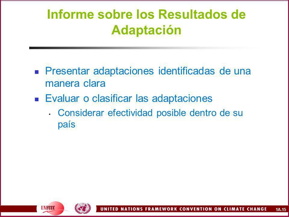 1A.15 Informe sobre los Resultados de Adaptación Presentar adaptaciones identificadas de una manera clara Evaluar o clasificar las adaptaciones Considerar efectividad posible dentro de su país