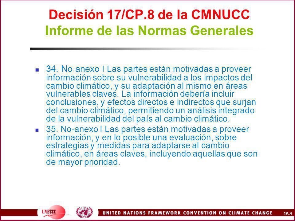 1A.4 Decisión 17/CP.8 de la CMNUCC Informe de las Normas Generales 34.