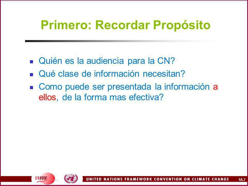 1A.7 Primero: Recordar Propósito Quién es la audiencia para la CN.