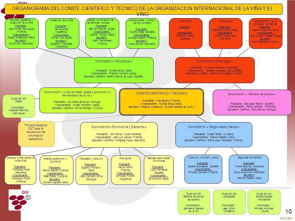 OIV 2011 10 Comisión I « Viticultura » Presidente: Michele Borgo (Italia) Vicepresidente: François Murisier (Suiza) Secretario científico: Alberto Gar