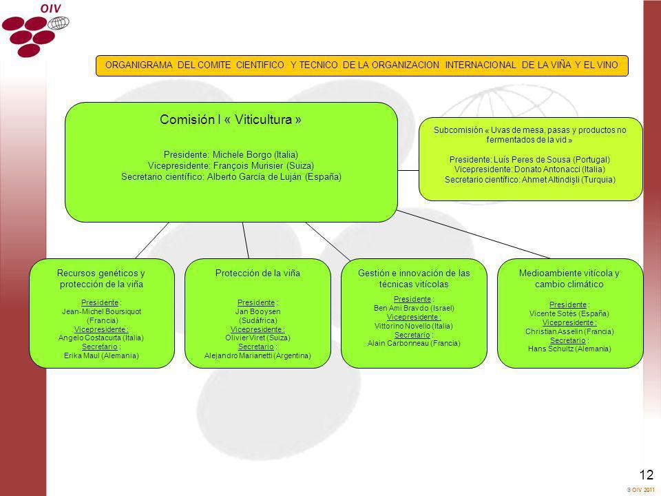 OIV 2011 12 Comisión I « Viticultura » Presidente: Michele Borgo (Italia) Vicepresidente: François Murisier (Suiza) Secretario científico: Alberto Gar