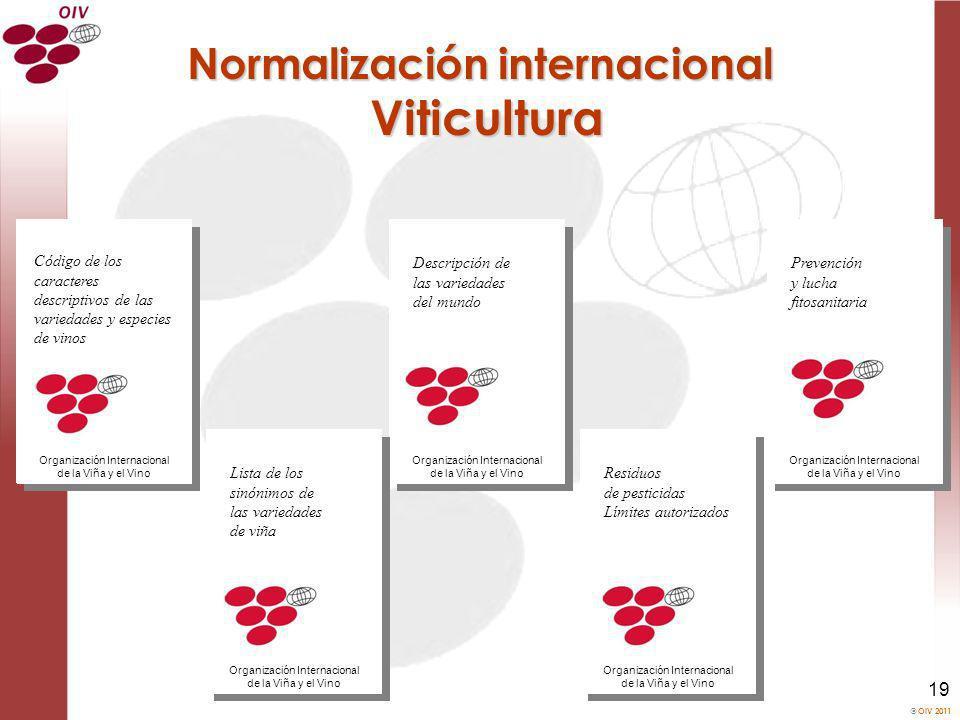 OIV 2011 19 Normalización internacional Viticultura Descripción de las variedades del mundo Organización Internacional de la Viña y el Vino Lista de l