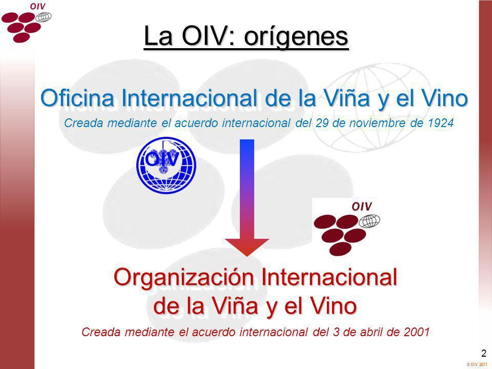 OIV 2011 2 La OIV: orígenes Oficina Internacional de la Viña y el Vino Organización Internacional de la Viña y el Vino Organización Internacional de l