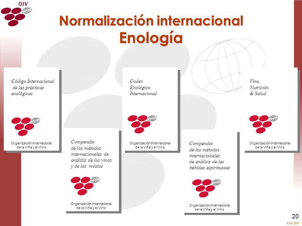 OIV 2011 20 Normalización internacional Enología Codex Enológico Internacional Organización Internacional de la Viña y el Vino Compendio de los método