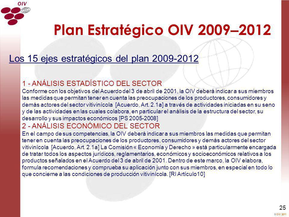 OIV 2011 25 Plan Estrat é gico OIV 2009 – 2012 Los 15 ejes estratégicos del plan 2009-2012 1 - ANÁLISIS ESTADÍSTICO DEL SECTOR Conforme con los objeti