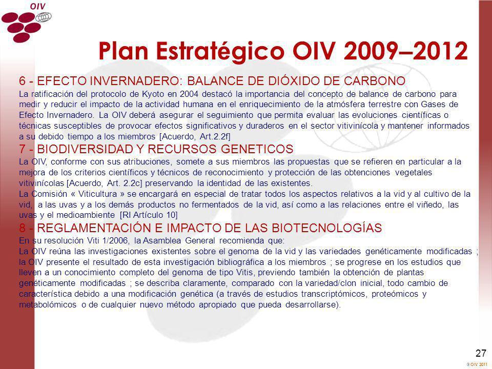 OIV 2011 27 Plan Estrat é gico OIV 2009 – 2012 6 - EFECTO INVERNADERO: BALANCE DE DIÓXIDO DE CARBONO La ratificación del protocolo de Kyoto en 2004 de