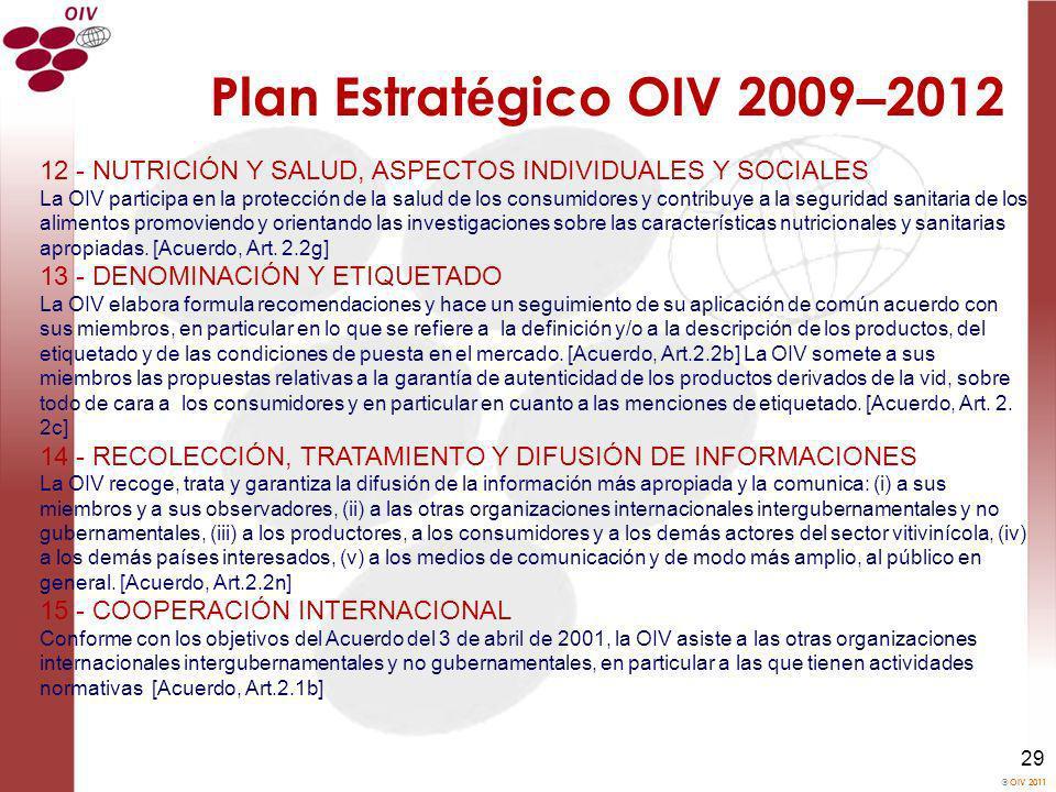 OIV 2011 29 Plan Estrat é gico OIV 2009 – 2012 12 - NUTRICIÓN Y SALUD, ASPECTOS INDIVIDUALES Y SOCIALES La OIV participa en la protección de la salud