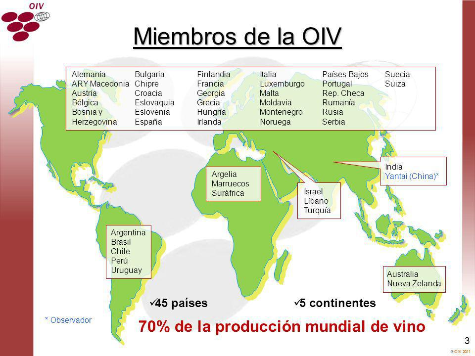 OIV 2011 4 Observadores Municipio de Yantai, China International University Association of Wine (AUIV) Academia Amorim International Federation of Wines and Spirits (FIVS) Unión Internacional de Enólogos (UIOE) Asociación Internacional de Juristas de la Viña y el Vino (AIDV) Asamblea de Regiones Vitivinícolas de Europa (AREV) Oenological Products and Practices International Association (OENOPPIA) Federación Mundial de Certámenes Vitivinícolas Viticulture de montagne (CERVIM)