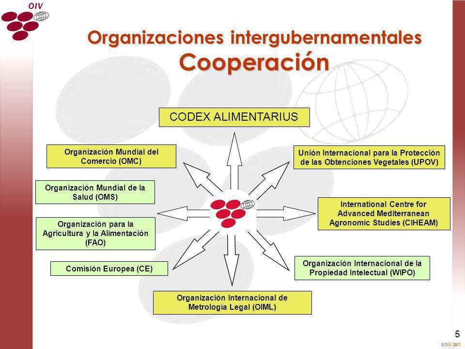OIV 2011 5 Organizaciones intergubernamentales Cooperación Unión Internacional para la Protección de las Obtenciones Vegetales (UPOV) Organización Mun