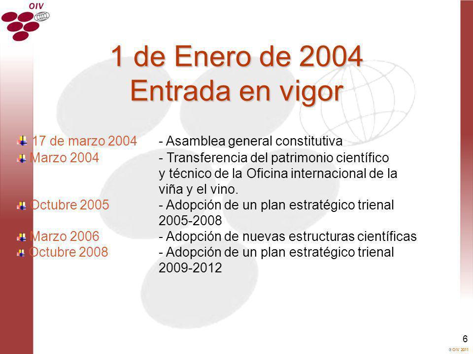 OIV 2011 6 1 de Enero de 2004 Entrada en vigor 17 de marzo 2004- Asamblea general constitutiva Marzo 2004- Transferencia del patrimonio científico y t