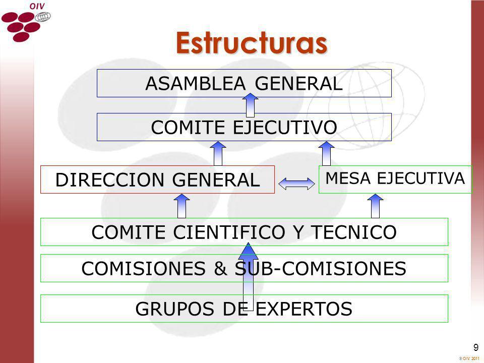 OIV 2011 9 Estructuras ASAMBLEA GENERAL COMITE EJECUTIVO COMITE CIENTIFICO Y TECNICO GRUPOS DE EXPERTOS COMISIONES & SUB-COMISIONES MESA EJECUTIVA DIR