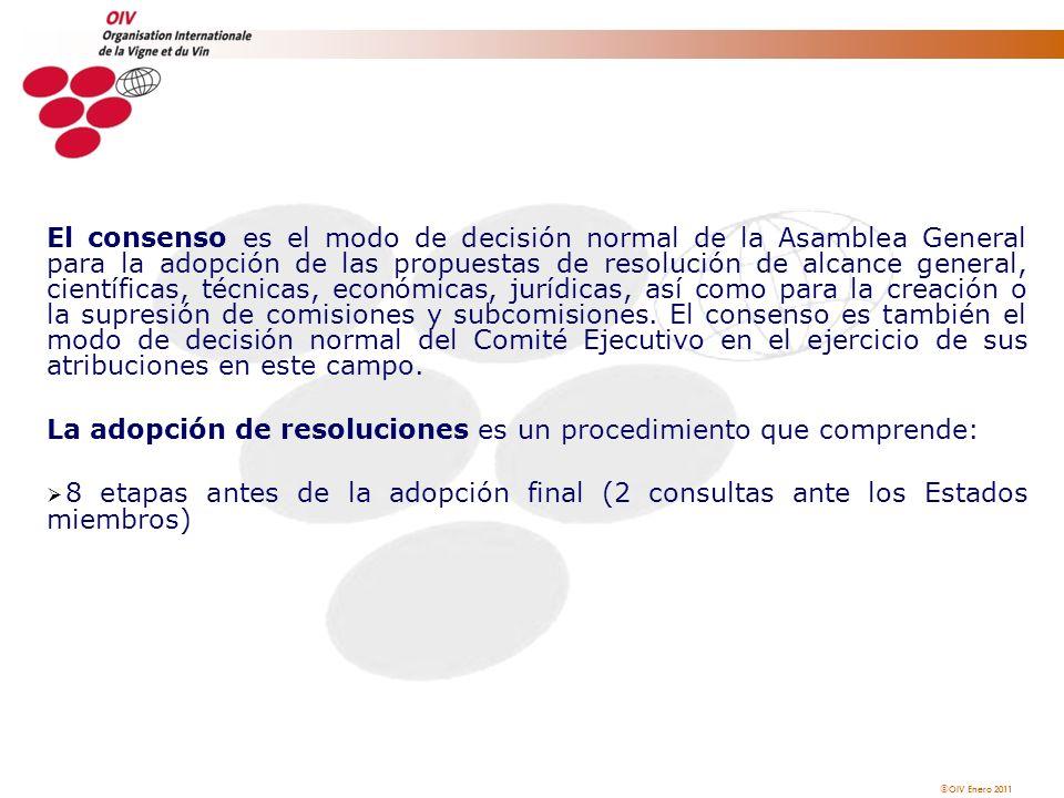 OIV Enero 2011 El consenso es el modo de decisión normal de la Asamblea General para la adopción de las propuestas de resolución de alcance general, c