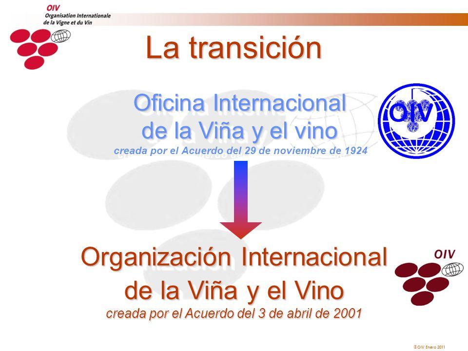 OIV Enero 2011 La transición Oficina Internacional de la Viña y el vino Oficina Internacional de la Viña y el vino creada por el Acuerdo del 29 de nov
