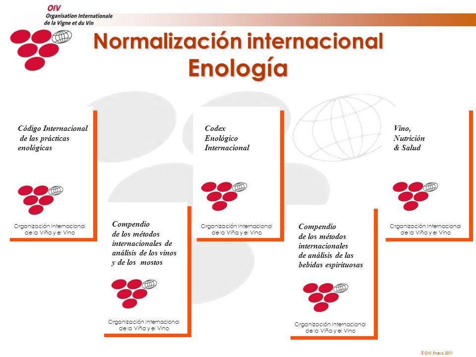 OIV Enero 2011 Normalización internacional Enología Codex Enológico Internacional Organización Internacional de la Viña y el Vino Compendio de los mét