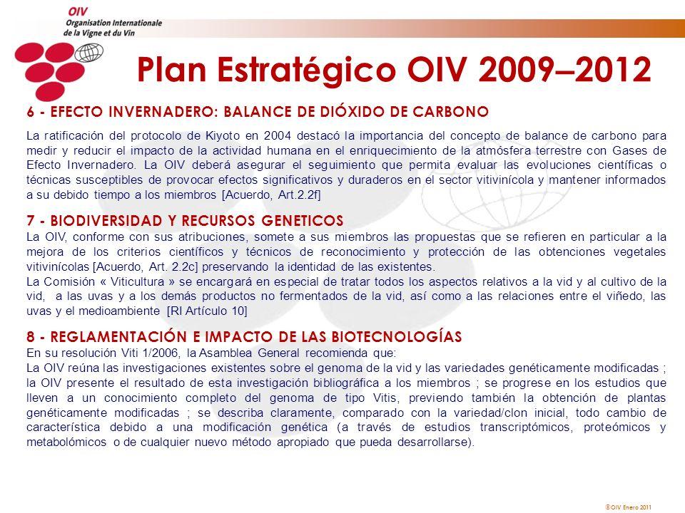 OIV Enero 2011 Plan Estrat é gico OIV 2009 – 2012 6 - EFECTO INVERNADERO: BALANCE DE DIÓXIDO DE CARBONO La ratificación del protocolo de Kiyoto en 200