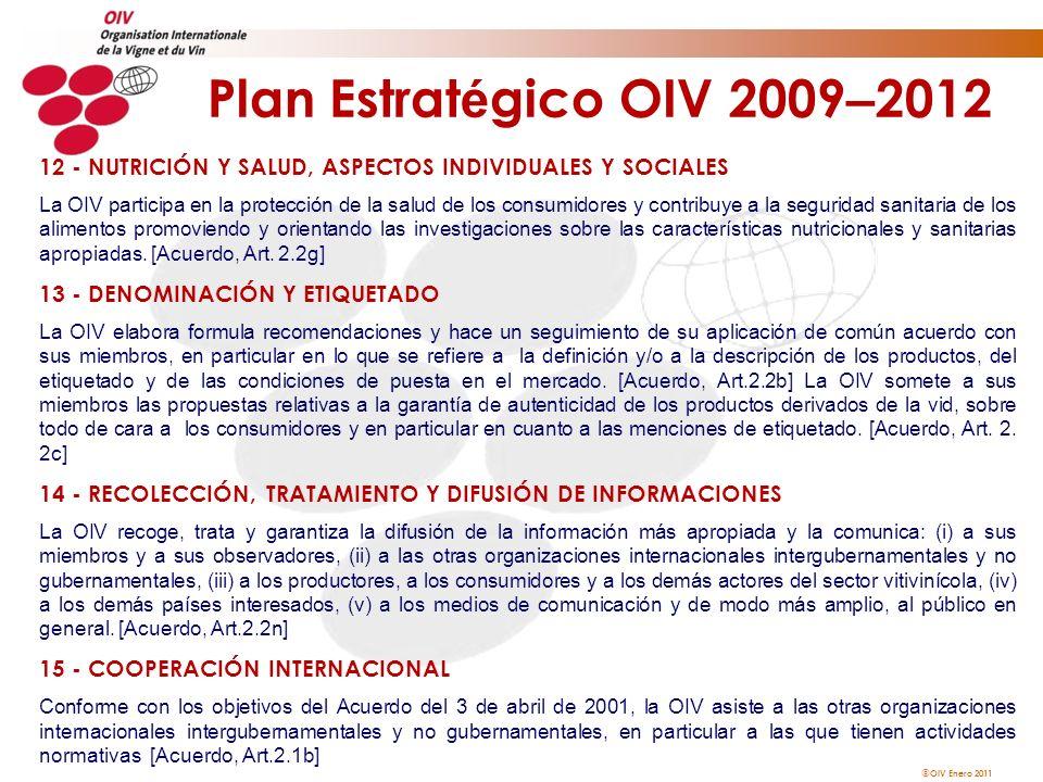 OIV Enero 2011 Plan Estrat é gico OIV 2009 – 2012 12 - NUTRICIÓN Y SALUD, ASPECTOS INDIVIDUALES Y SOCIALES La OIV participa en la protección de la sal