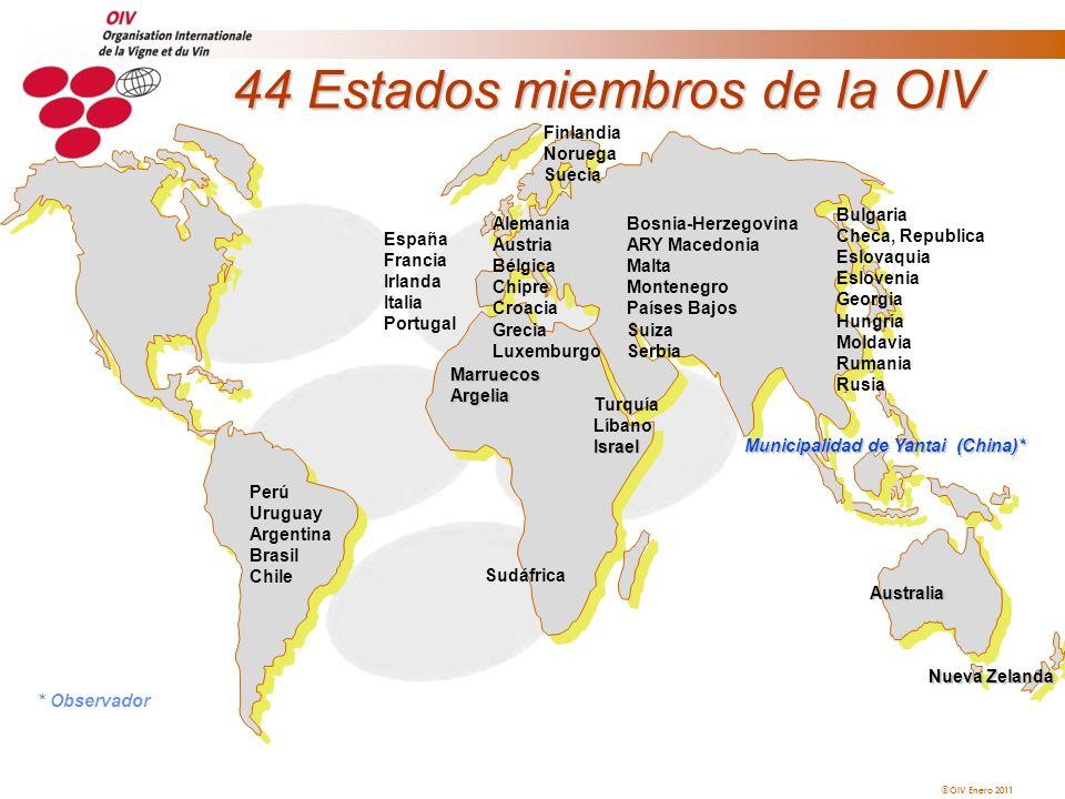 OIV Enero 2011 44 Estados miembros de la OIV Sudáfrica Australia Perú Uruguay Argentina Brasil Chile MarruecosArgelia Turquía LíbanoIsrael Alemania Au