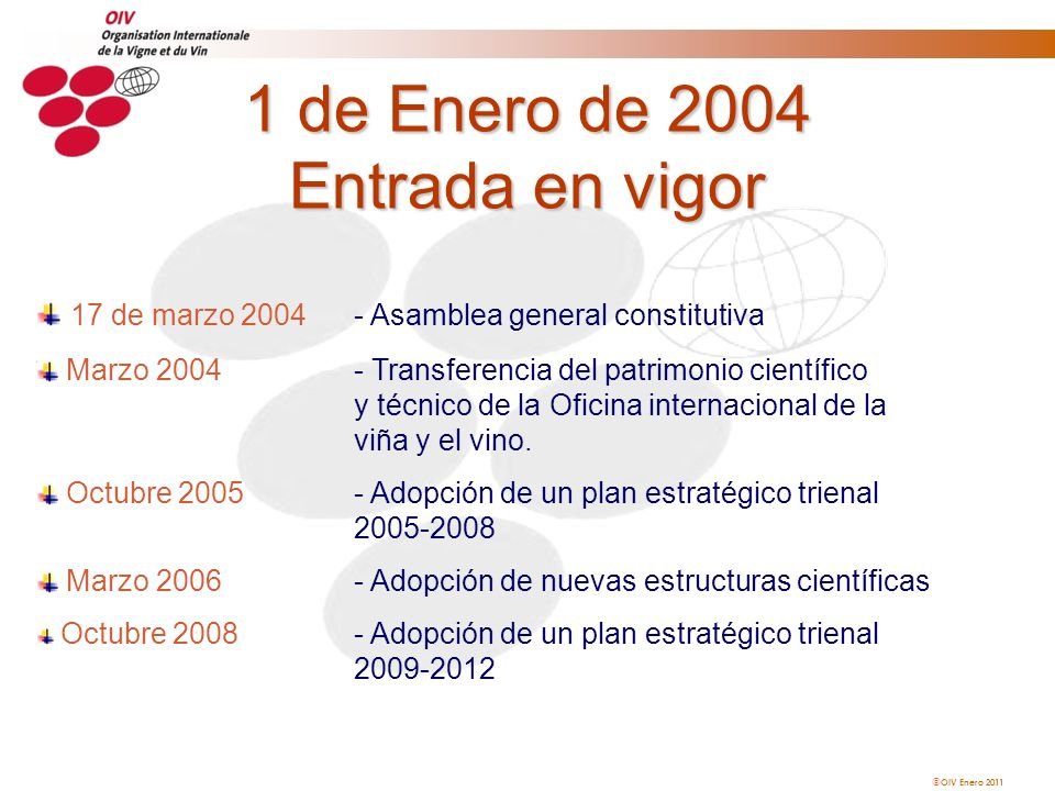 OIV Enero 2011 1 de Enero de 2004 Entrada en vigor 17 de marzo 2004- Asamblea general constitutiva Marzo 2004- Transferencia del patrimonio científico
