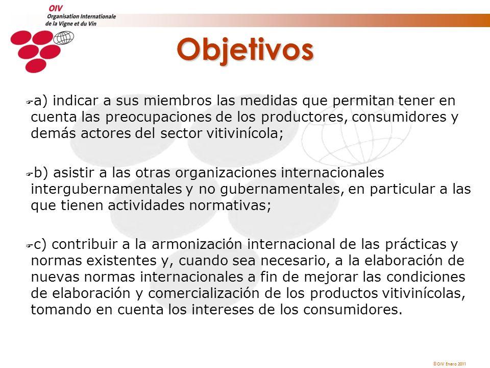 OIV Enero 2011 Funciones u ARMONIZACION, NORMALIZACION, MUTUO RECONOCIMIENTO u COLABORACION, COOPERACION Y MEDIACION INTERNACIONALES u INVESTIGACION Y VIGILANCIA CIENTIFICA u PRODUCCION VITICOLA Y OBTENCIONES VEGETALES u PRACTICAS ENOLOGICAS Y METODOS DE ANALISIS u SALIDA AL MERCADO E INFORMACION A LOS CONSUMIDORES u PROTECCION DE LAS INDICACIONES GEOGRAFICAS u SALUD Y SEGURIDAD SANITARIA DE LOS ALIMENTOS u PATRIMONIO, CULTURA, HISTORIA Y MEDIOAMBIENTE u FORMACION Y COMUNICACION