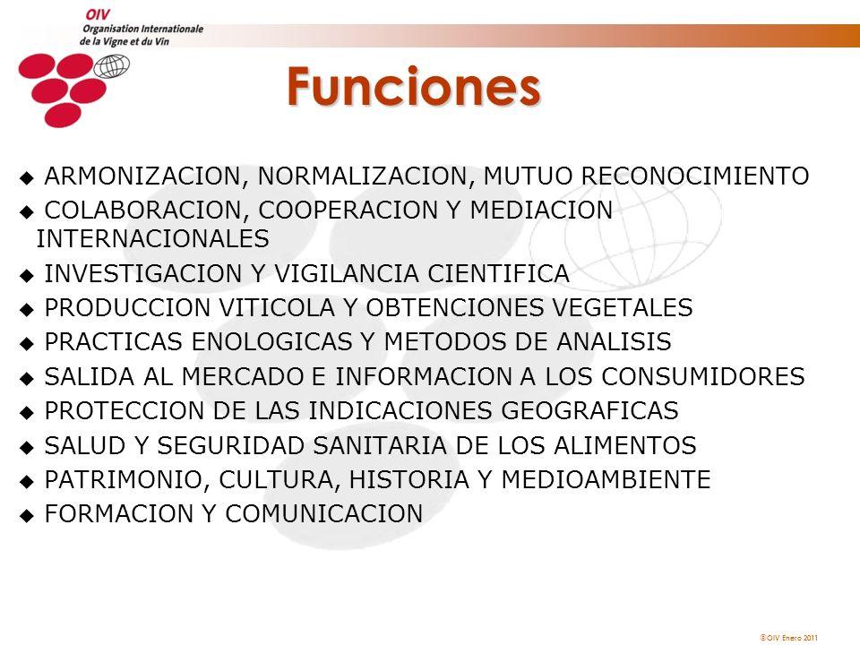 OIV Enero 2011 Funciones u ARMONIZACION, NORMALIZACION, MUTUO RECONOCIMIENTO u COLABORACION, COOPERACION Y MEDIACION INTERNACIONALES u INVESTIGACION Y
