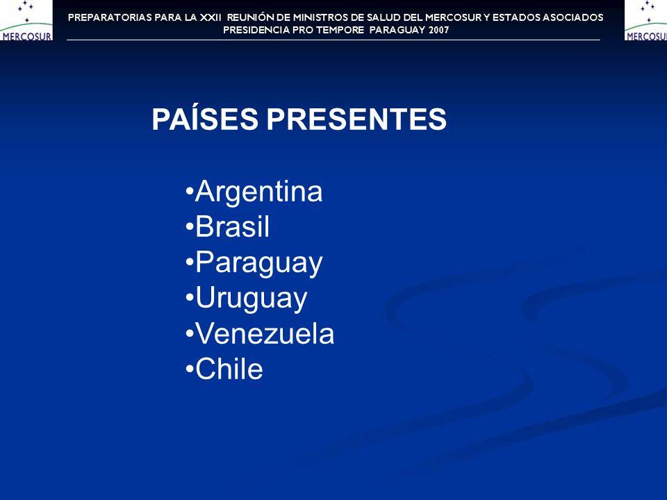 PAÍSES PRESENTES Argentina Brasil Paraguay Uruguay Venezuela Chile