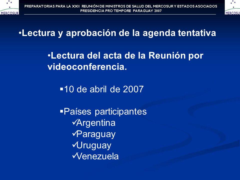Lectura del acta de la Reunión por videoconferencia. 10 de abril de 2007 Países participantes Argentina Paraguay Uruguay Venezuela Lectura y aprobació