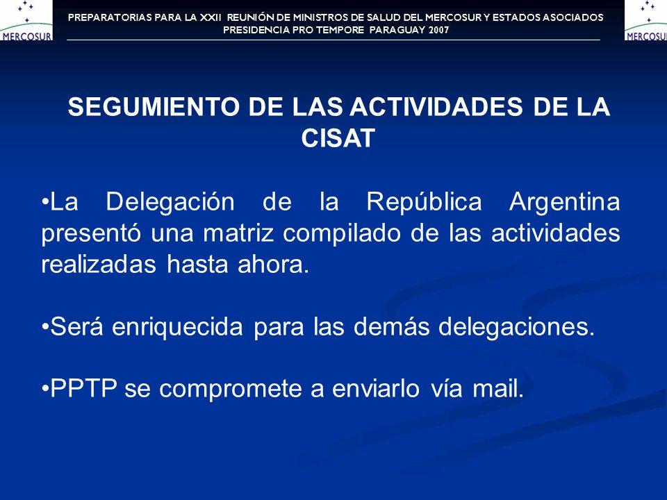 SALUD AMBIENTAL INFANTIL Se discutió la propuesta presentada por la Delegación de la República Argentina, relacionada al taller de Salud Ambiental Infantil que se tiene previsto realizarse a fines de junio de 2007 Se deliberó sobre la metodología a ser utilizada, el contenido, los participantes, la fecha y el ámbito del encuentro.