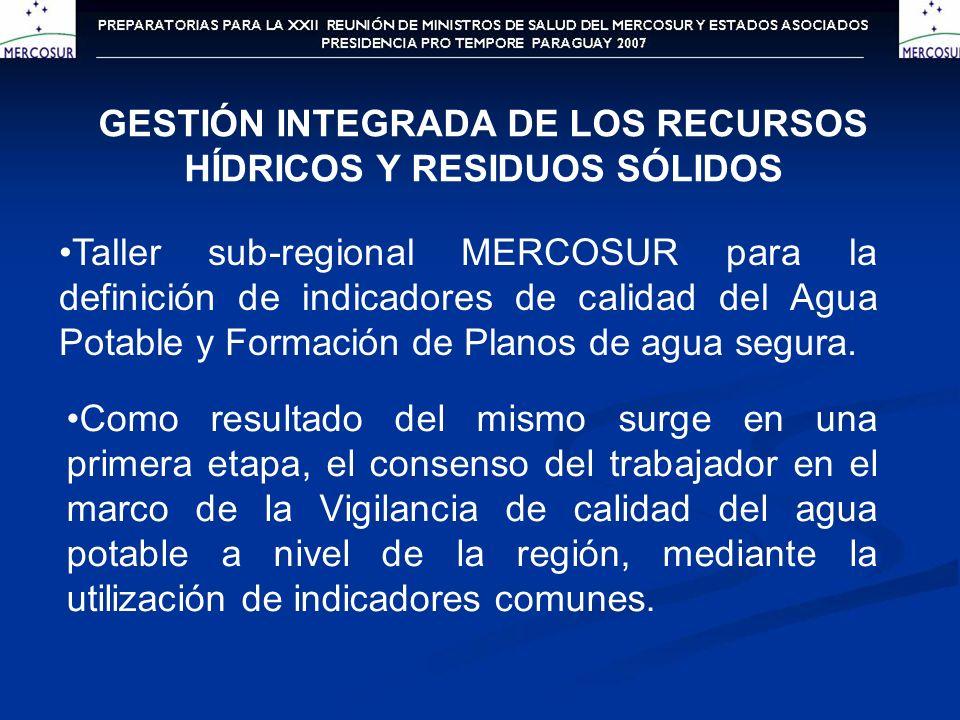 GESTIÓN INTEGRADA DE LOS RECURSOS HÍDRICOS Y RESIDUOS SÓLIDOS Taller sub-regional MERCOSUR para la definición de indicadores de calidad del Agua Potab