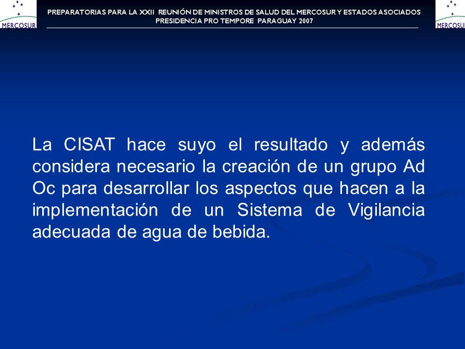 La CISAT hace suyo el resultado y además considera necesario la creación de un grupo Ad Oc para desarrollar los aspectos que hacen a la implementación de un Sistema de Vigilancia adecuada de agua de bebida.