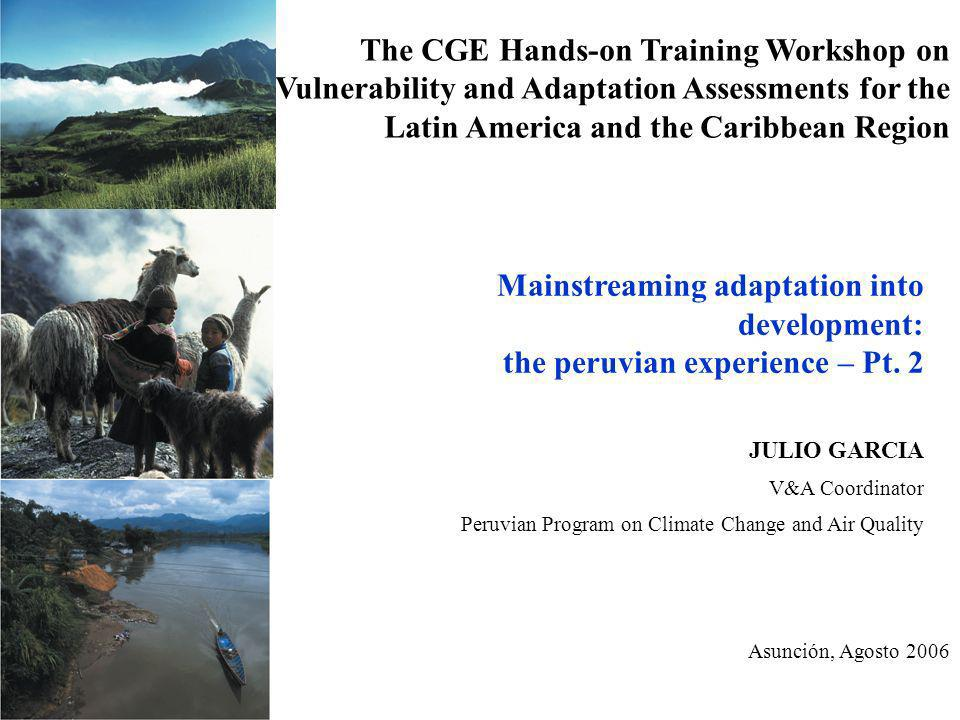 The CGE Hands-on Training Workshop on Vulnerability and Adaptation Assessments for the Latin America and the Caribbean Region Mainstreaming adaptation