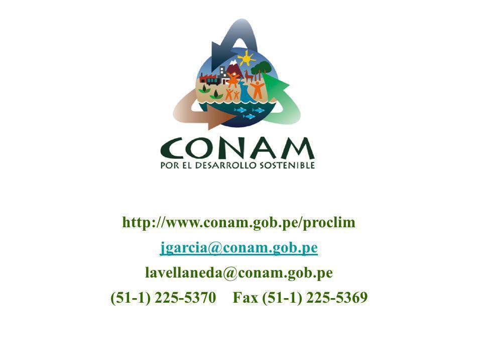 http://www.conam.gob.pe/proclim jgarcia@conam.gob.pe lavellaneda@conam.gob.pe (51-1) 225-5370 Fax (51-1) 225-5369