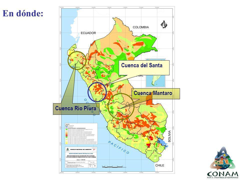Cuenca del Santa Cuenca Río Piura Cuenca Mantaro En dónde: