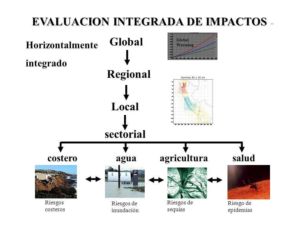 Global Warming Global Regional Local sectorial agriculturacosterosalud Horizontalmente integrado agua EVALUACION INTEGRADA DE IMPACTOS EVALUACION INTE
