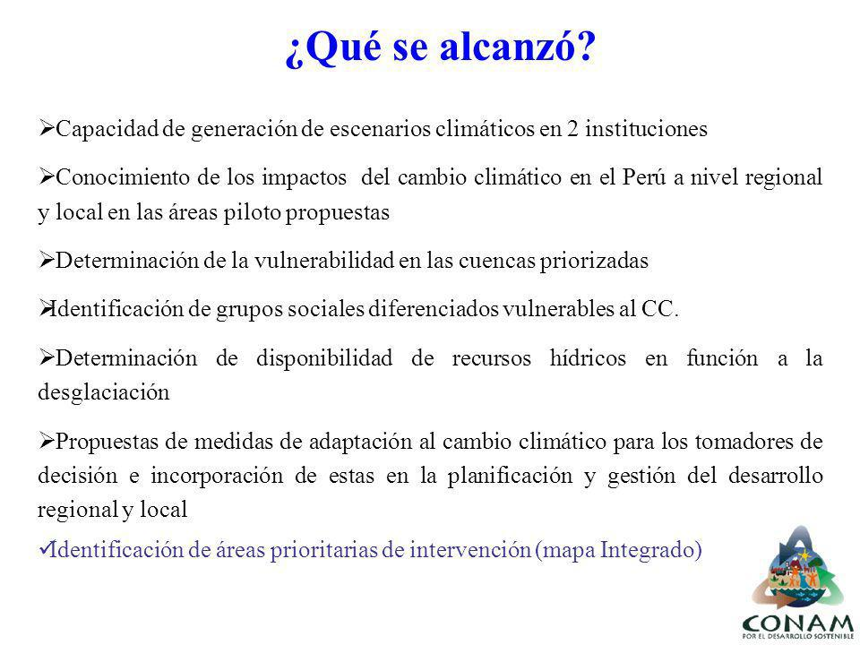 ¿Qué se alcanzó? Capacidad de generación de escenarios climáticos en 2 instituciones Conocimiento de los impactos del cambio climático en el Perú a ni