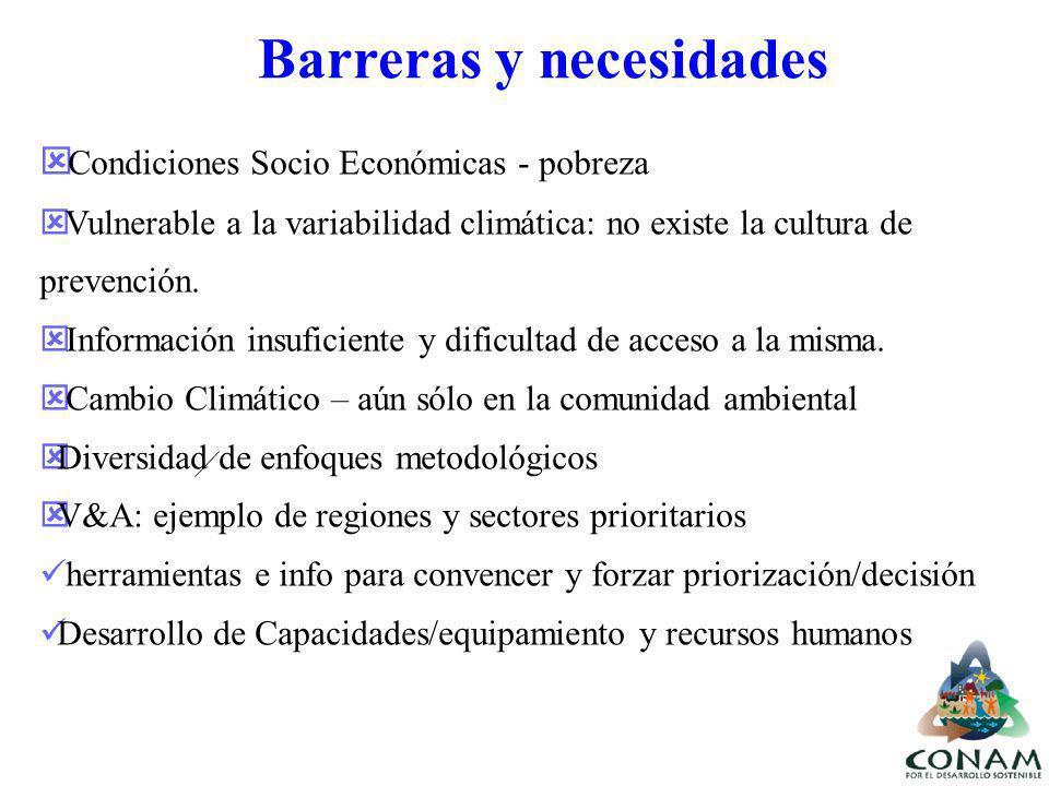 Condiciones Socio Económicas - pobreza Vulnerable a la variabilidad climática: no existe la cultura de prevención. Información insuficiente y dificult