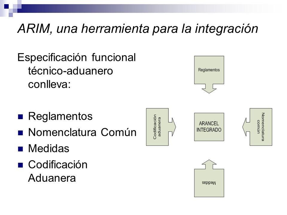 ARIM, una herramienta para la integración Especificación funcional técnico-aduanero conlleva: Reglamentos Nomenclatura Común Medidas Codificación Aduanera