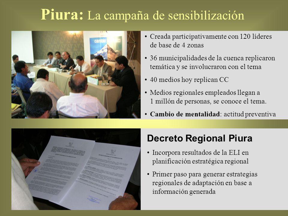 Decreto Regional Piura Incorpora resultados de la ELI en planificación estratégica regional Primer paso para generar estrategias regionales de adaptac