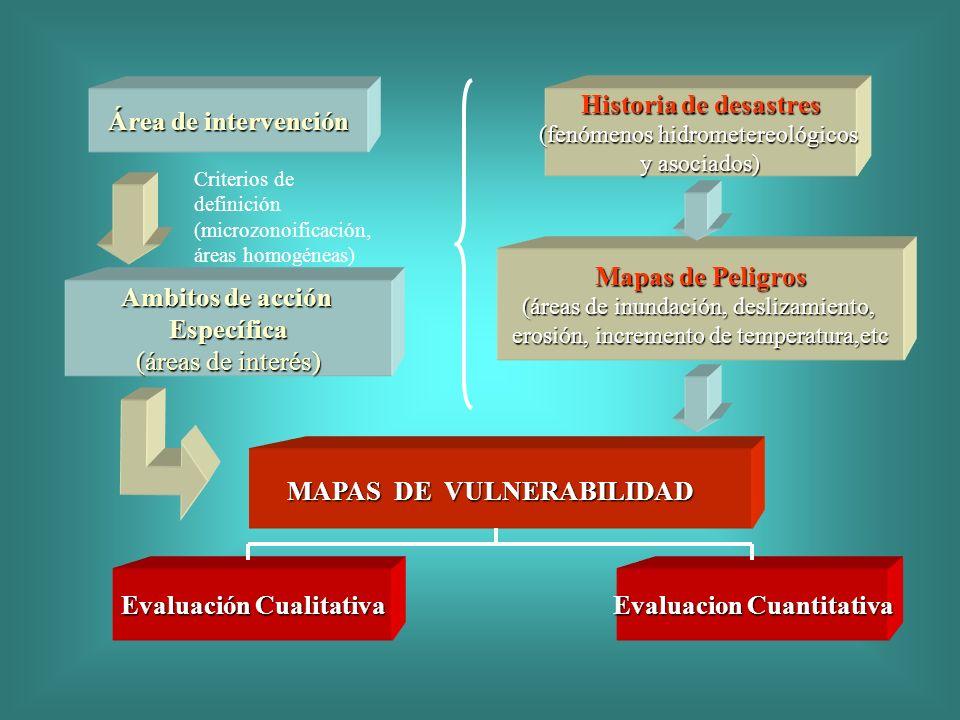 Área de intervención Ambitos de acción Específica (áreas de interés) Historia de desastres (fenómenos hidrometereológicos y asociados) Mapas de Peligr