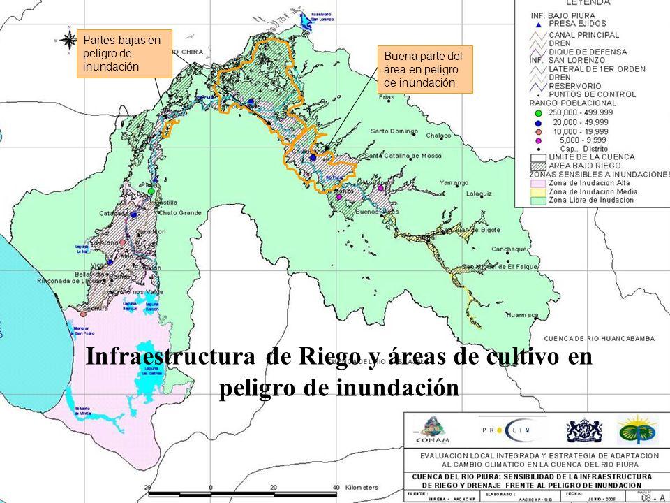 Buena parte del área en peligro de inundación Partes bajas en peligro de inundación Infraestructura de Riego y áreas de cultivo en peligro de inundaci