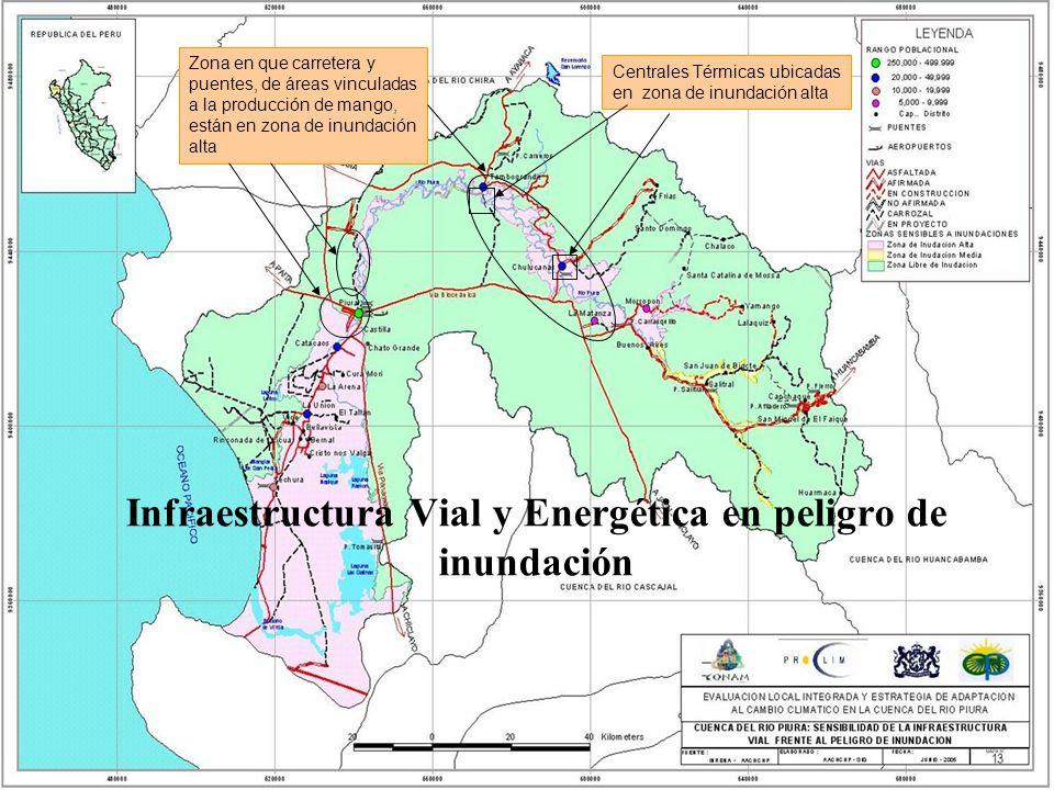 Zona en que carretera y puentes, de áreas vinculadas a la producción de mango, están en zona de inundación alta Infraestructura Vial y Energética en p