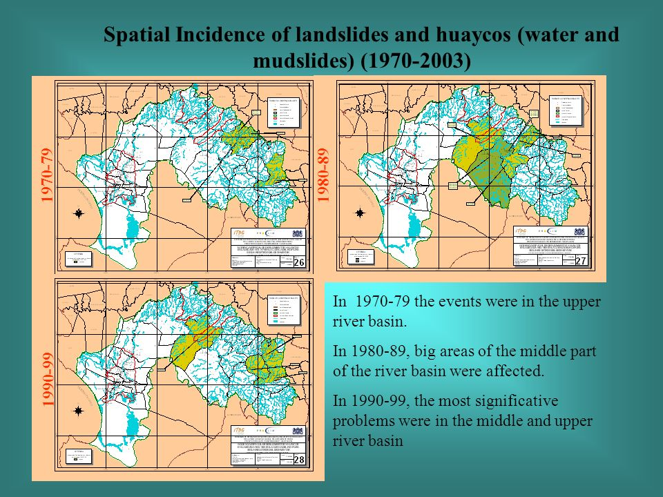 Spatial Incidence of landslides and huaycos (water and mudslides) (1970-2003) 1970-79 1990-99 1980-89 In 1970-79 the events were in the upper river basin.