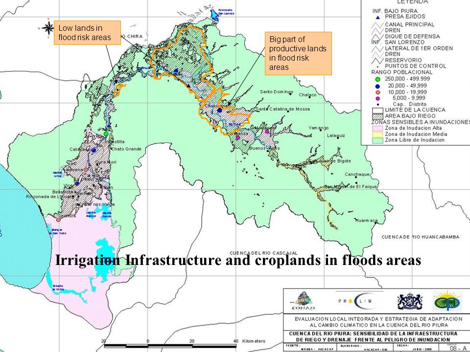 Big part of productive lands in flood risk areas Low lands in flood risk areas Irrigation Infrastructure and croplands in floods areas